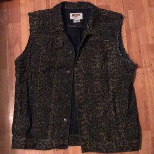 MENS Cheetah Print Denim Vest size XL
